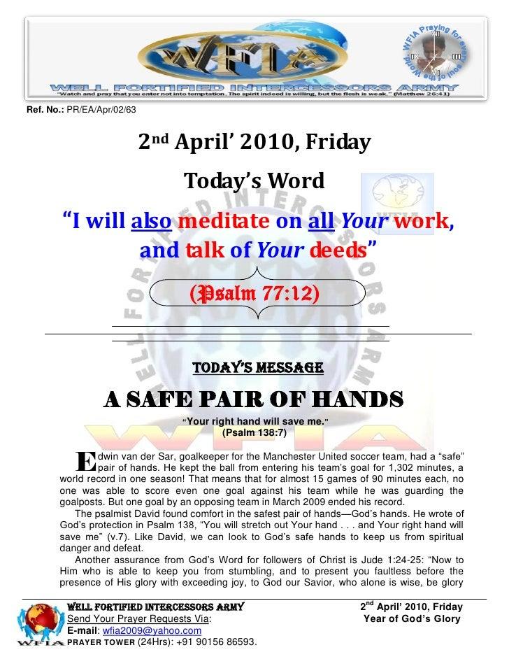 WFIA, Prayer For 2nd April 2010