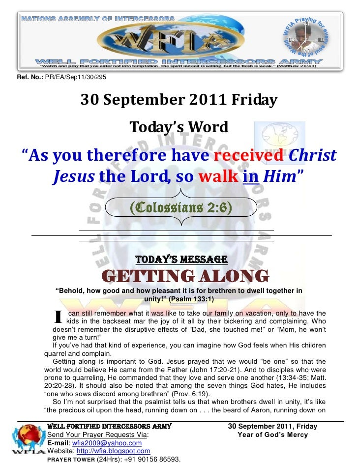 "Ref. No.: PR/EA/Sep11/30/295                    30 September 2011 Friday                                    Today's Word ""..."