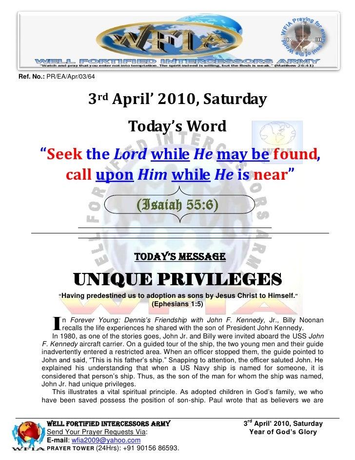 WFIA, Prayer For 3rd April 2010