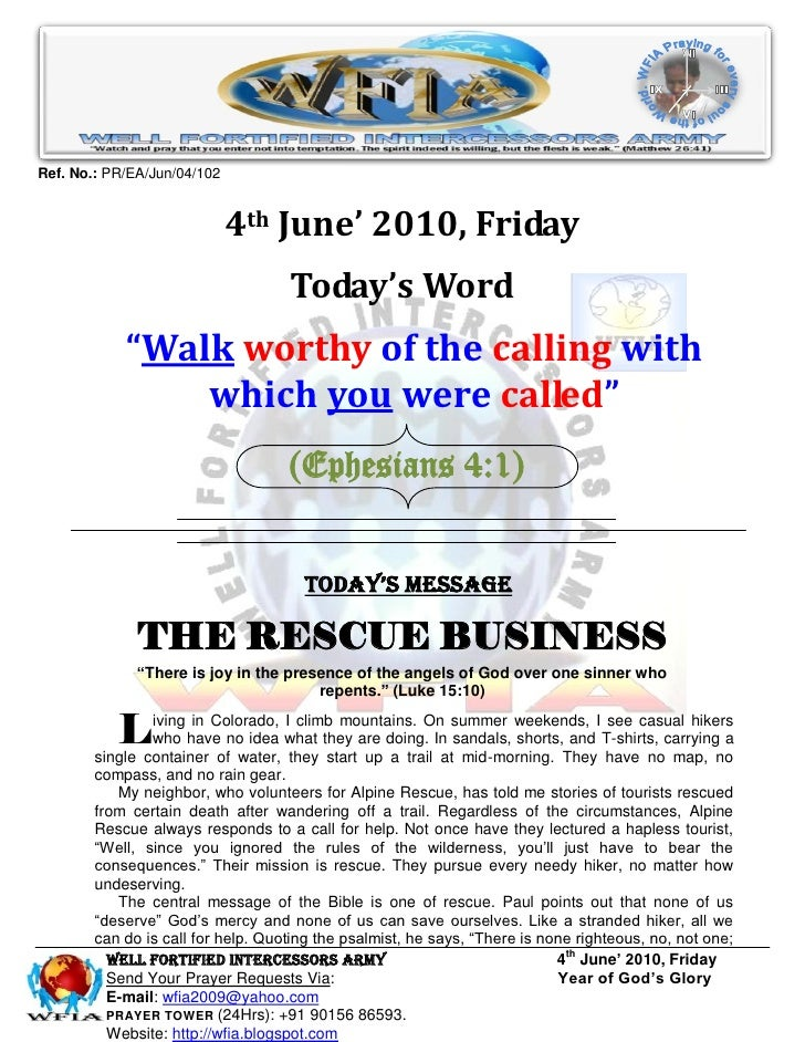 WFIA, Prayer for 4th June' 2010