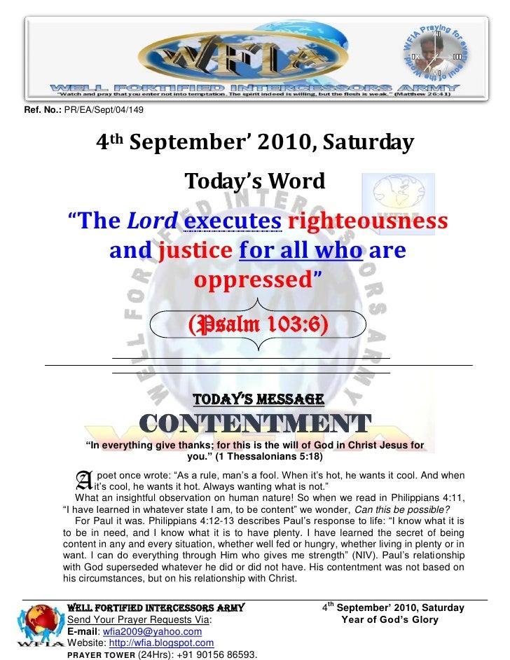 WFIA, Prayer for 4th September' 2010