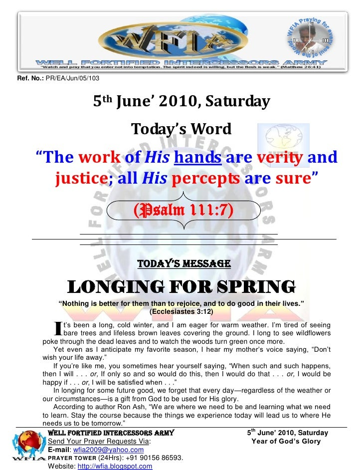 WFIA, Prayer for 5th June' 2010