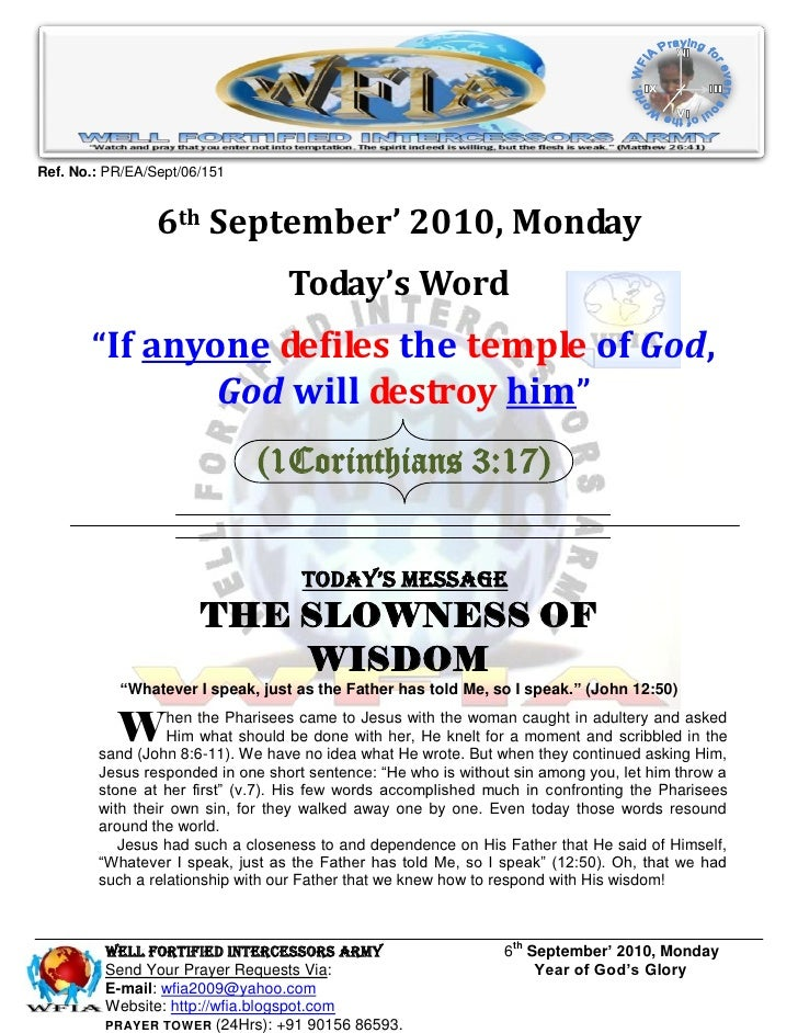 Ref. No.: PR/EA/Sept/06/151                    6th September' 2010, Monday                                   Today's Word ...