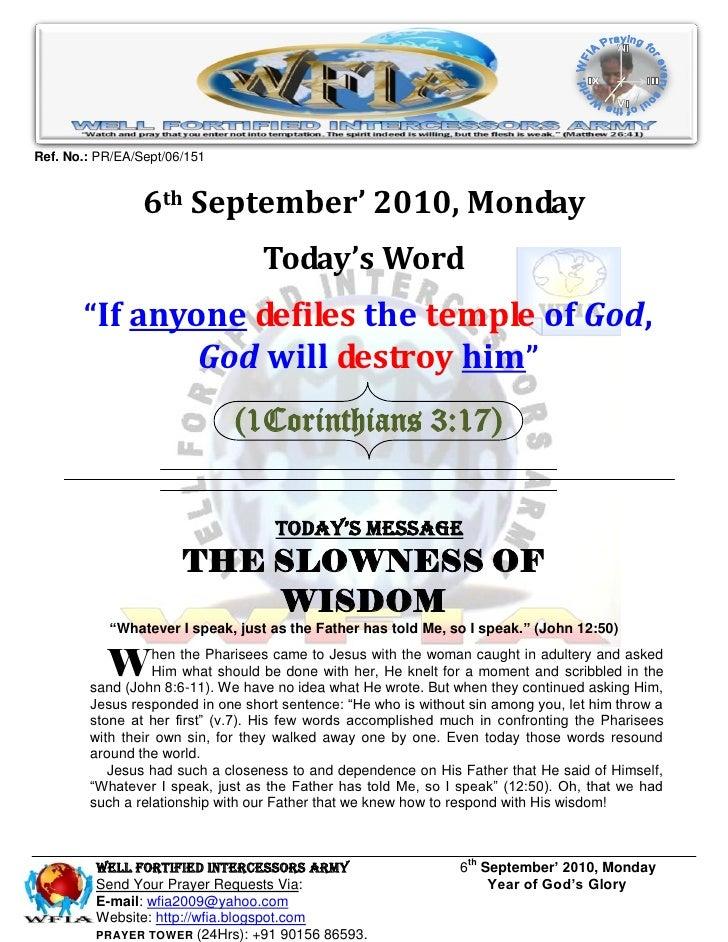 WFIA, Prayer for 6th September' 2010