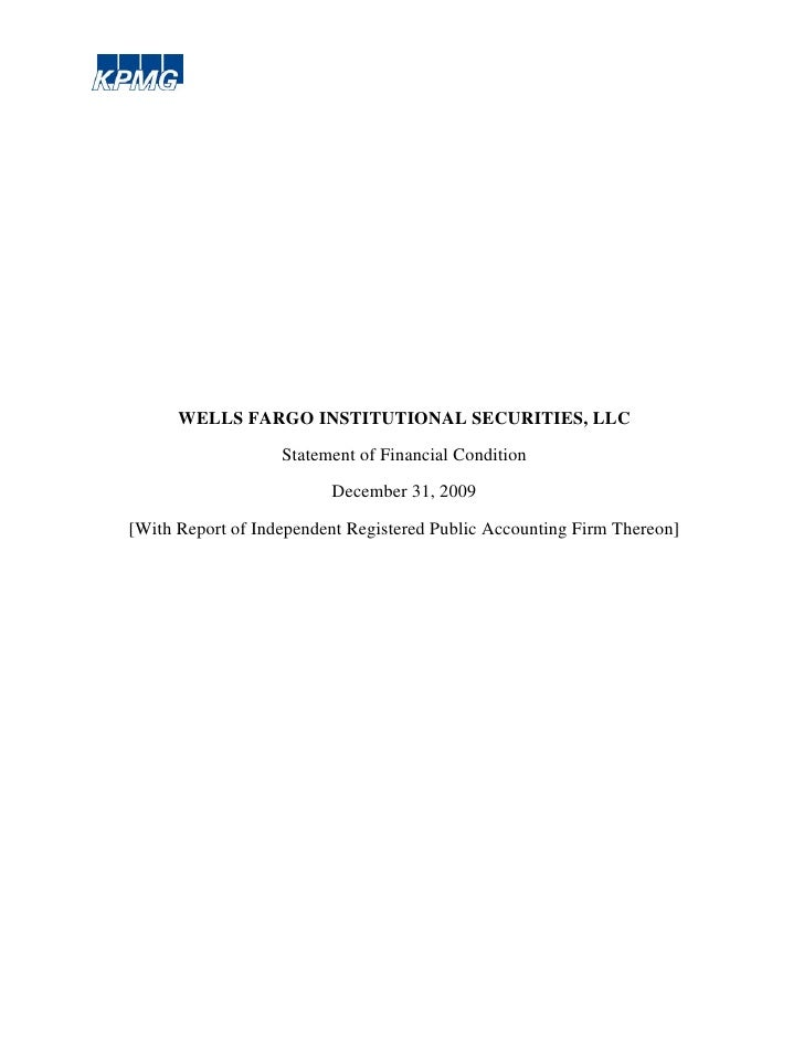 WELLS FARGO INSTITUTIONAL SECURITIES, LLC                   Statement of Financial Condition                         Decem...