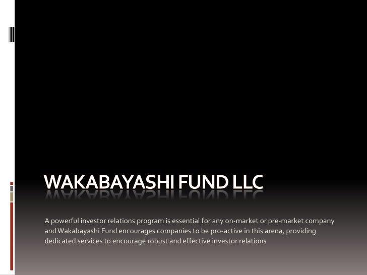 Wakabayshifund LLC