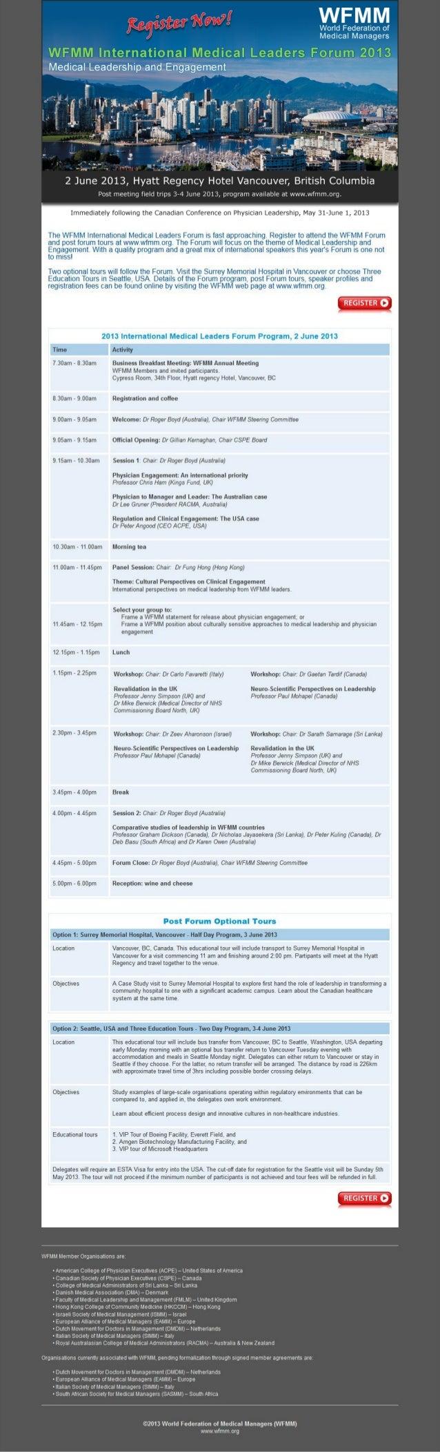 Wfmm international medical leaders forum 2013