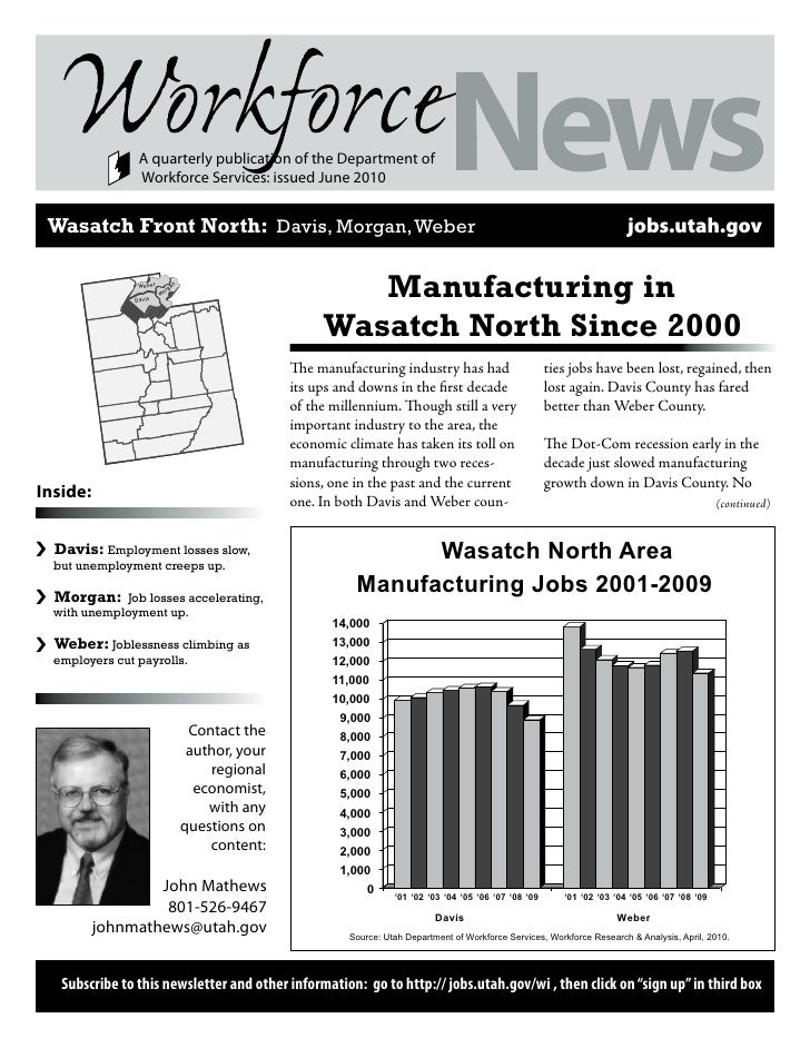 A quarterly publication of the Department of                   Workforce Services: issued June 2010       Wasatch Front No...