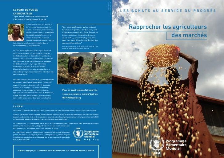 L E S AC H AT S A U S E R V I C E D U P R O G R È S        Rapprocher les agriculteurs                   des marchés