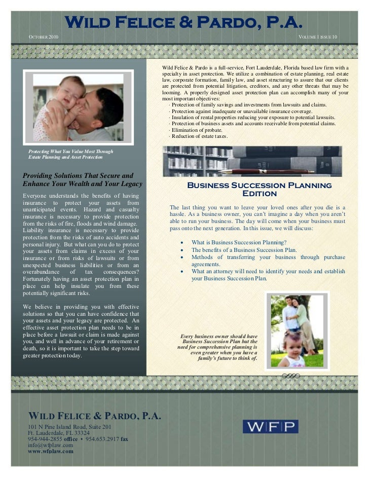 Wild Felice and Pardo, Estate Planning and Asset Protection Newsletter, October 2010