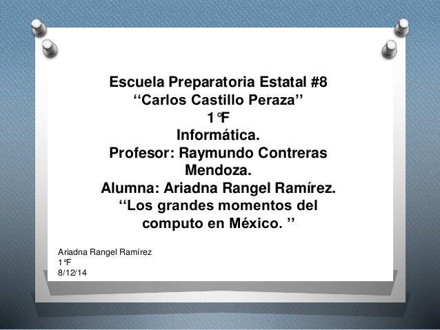 Escuela Preparatoria Estatal #8  ''Carlos Castillo Peraza''  1°F  Informática.  Profesor: Raymundo Contreras  Mendoza.  Al...