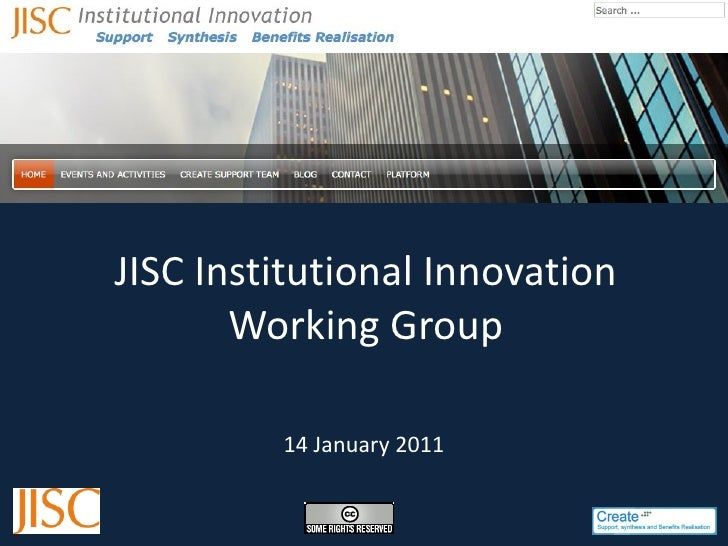 JISC Institutional Innovation Working Group 14 January 2011