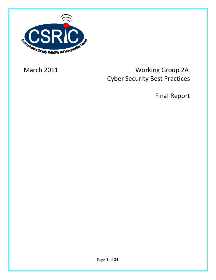2011 FCC CSRIC WG2A Cyber Security Best Practices Final Report