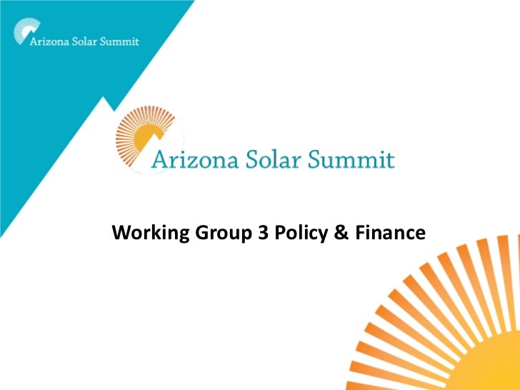 Working Group 3 Policy & Finance