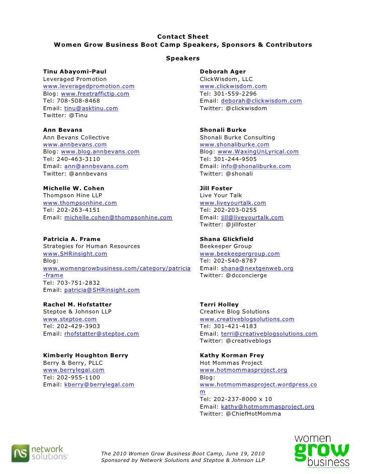 Contact Sheet    Women Grow Business Boot Camp Speakers, Sponsors & Contributors                                          ...