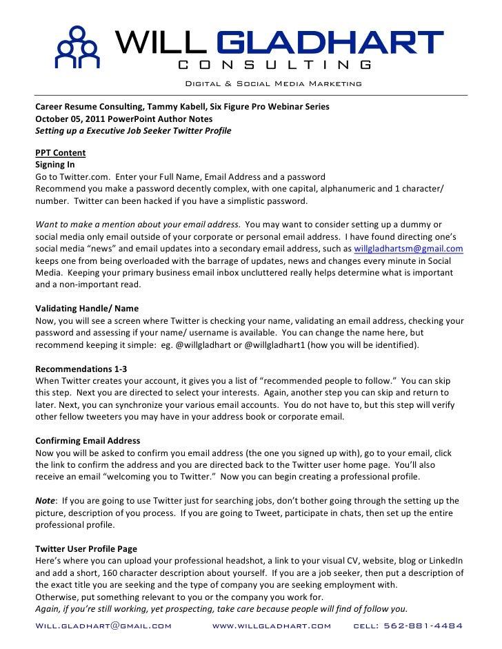 CRC Six Figure Pro Webinar Series, Twitter for Executive Job Seekers