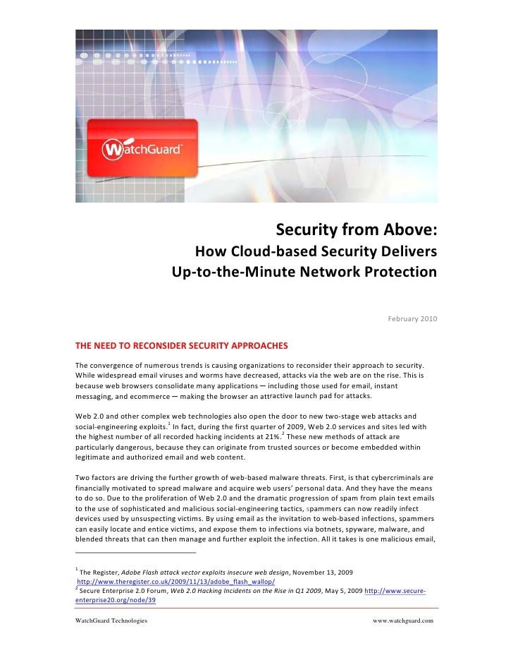 Security from Above:                                  How Cloud‐based Security Delivers                                Up‐...