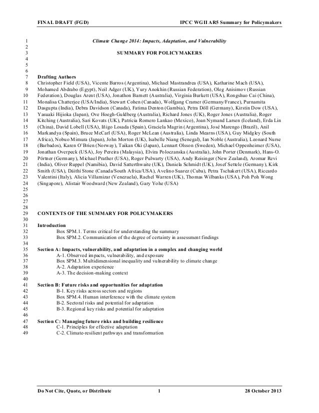 "IPCC Working Group II Report (""Final Draft,"" 10/28/13)"