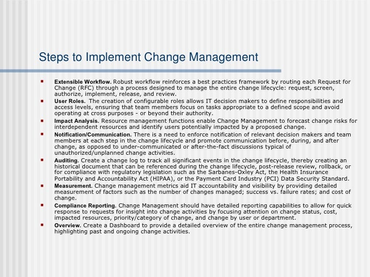 how to implement change management process