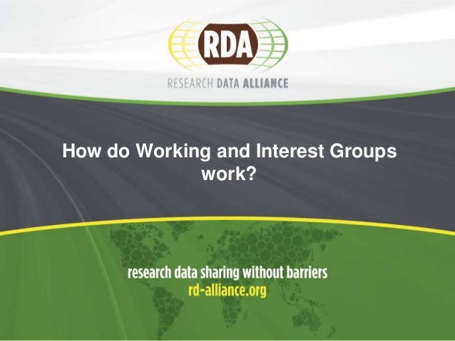 How do working and interest groups work in RDA?