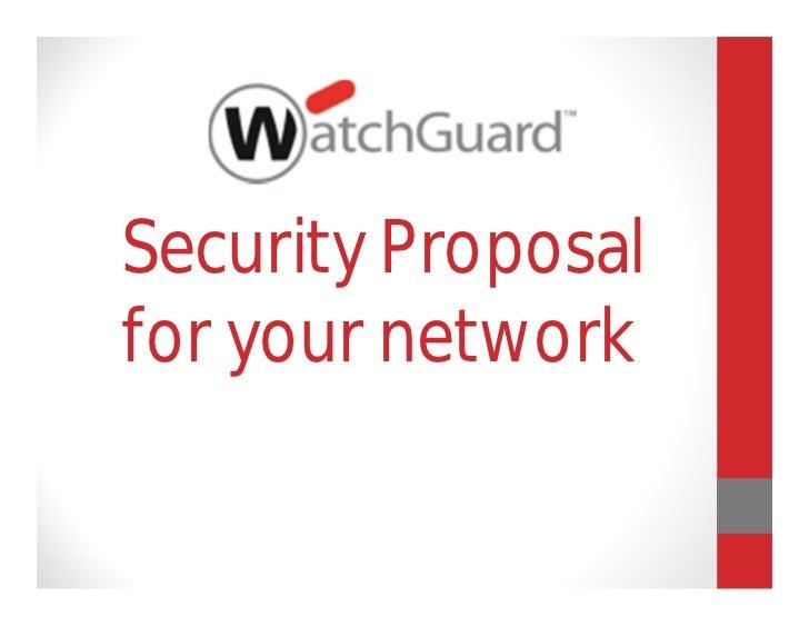 Watchguard security proposal 2012