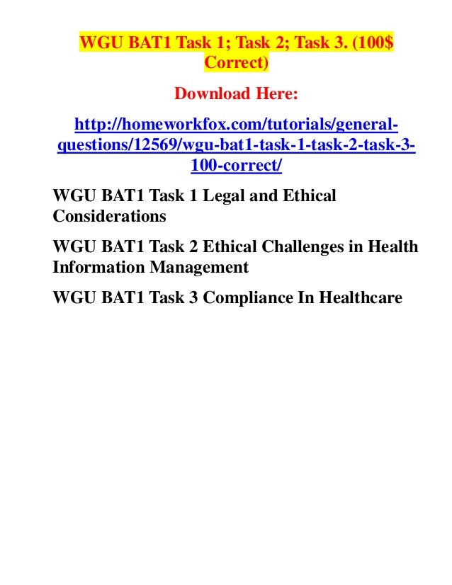wgu egt1 task Free essay: c489 organizational systems and quality leadership task 3 jennifer gentry western governors university a1 country to compare and a2 access the.