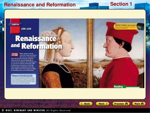 Renaissance and Reformation  Section 1