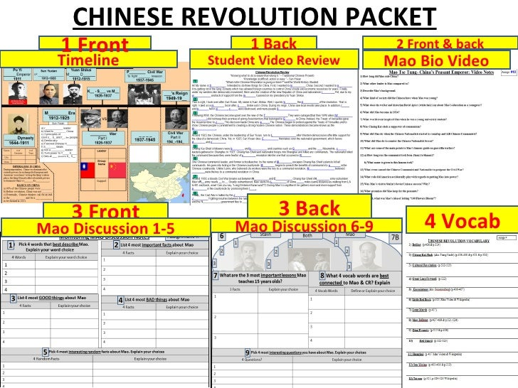 CHINESE REVOLUTION PACKET   1 Front                 1 Back              2 Front & back  Timeline           Student Video R...