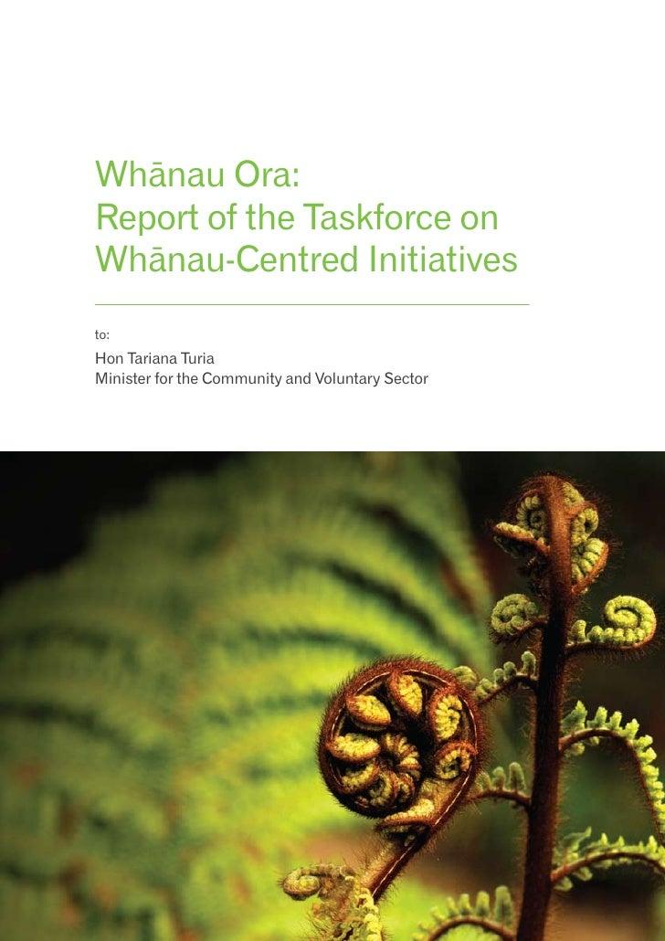 Whanau Ora Taskforce Report 080410