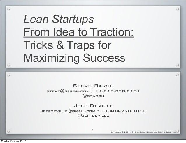 Steve Barsh on De-Risking and Key Assumptions for Wharton Biz Plan Competition Community Feb 2013