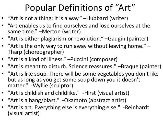 Defining art essay