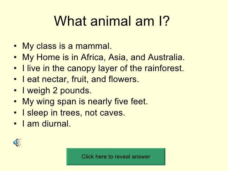 What animal am I?  <ul><li>My class is a mammal. </li></ul><ul><li>My Home is in Africa, Asia, and Australia. </li></ul><u...