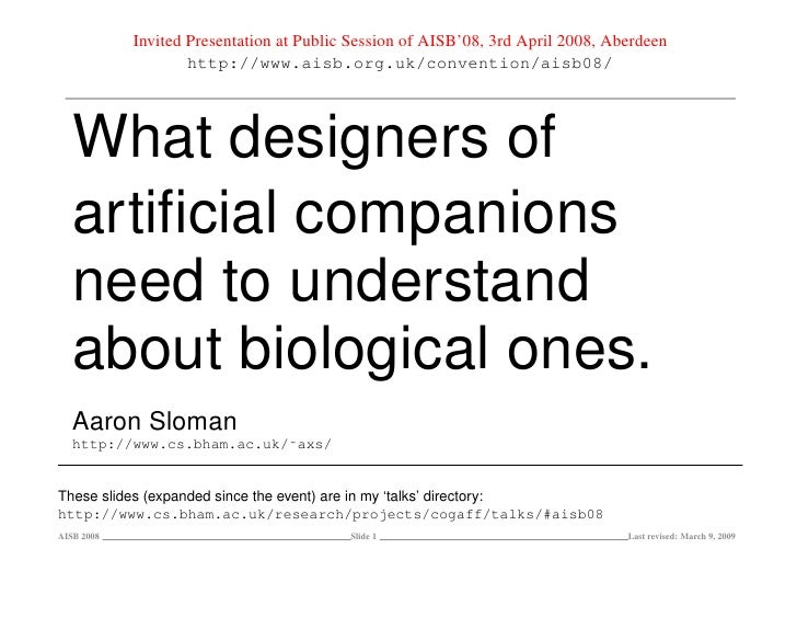What designers of artificial companions need to understand about biological ones