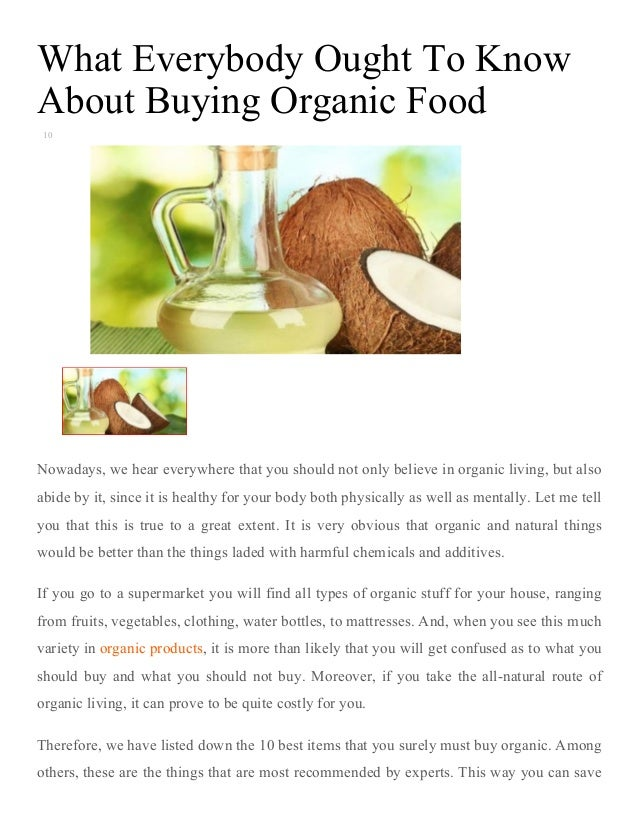 What everybody ought to know about buying organic food