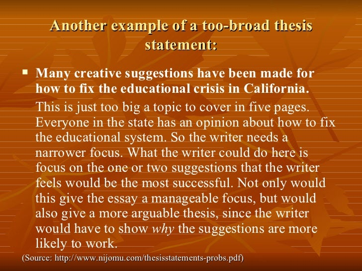 give me an example of a thesis statement