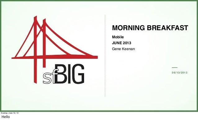 06/13/2013MORNING BREAKFASTMobileJUNE 2013Gene KeenanSunday, June 16, 13Hello