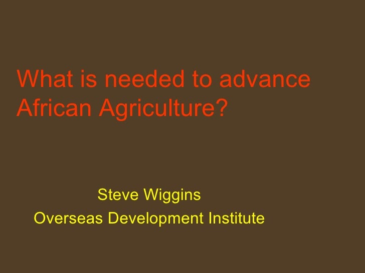 What is needed to advance African Agriculture?   Steve Wiggins Overseas Development Institute