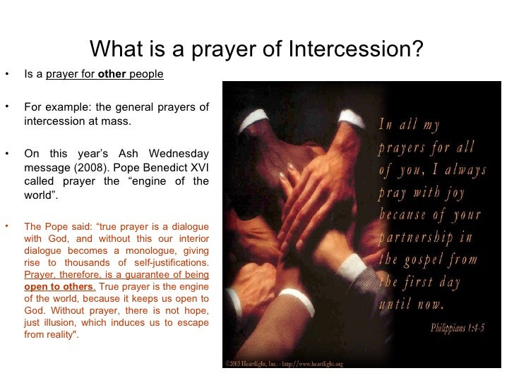 life of an intercessor essay Pilgrimage to shrines and holy places comes face-to-face with the hidden life mary in the world is that of an intercessor between mankind.