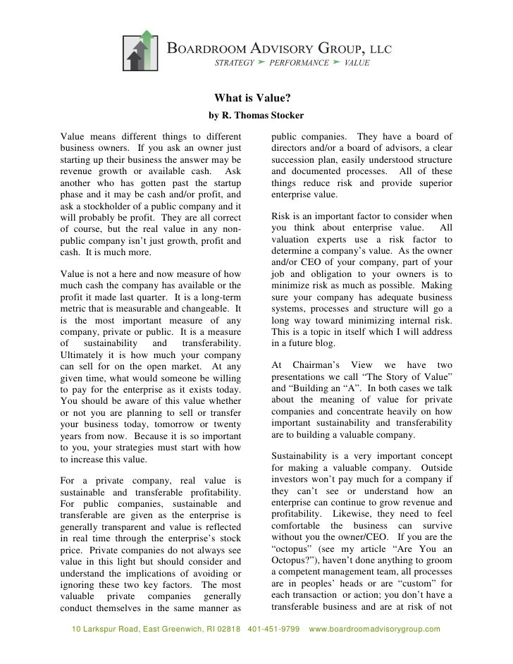 What is Value?                                        by R. Thomas Stocker  Value means different things to different     ...