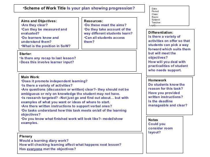 Ofsted Lesson Plan Template By Orangedaisy86 Teaching 6249827