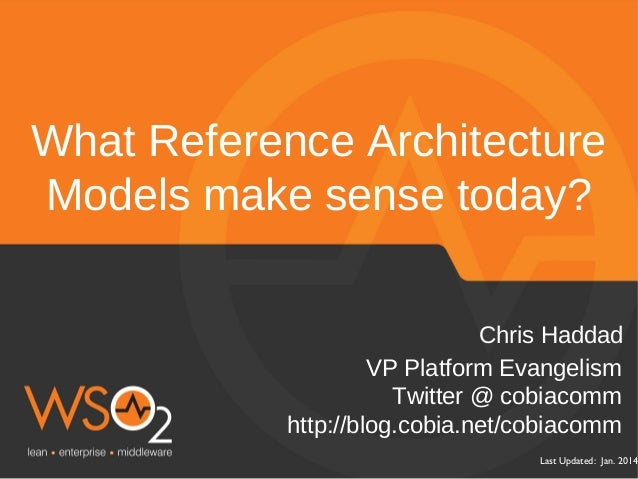 What Reference Architecture Models make sense today? Chris Haddad VP Platform Evangelism Twitter @ cobiacomm http://blog.c...
