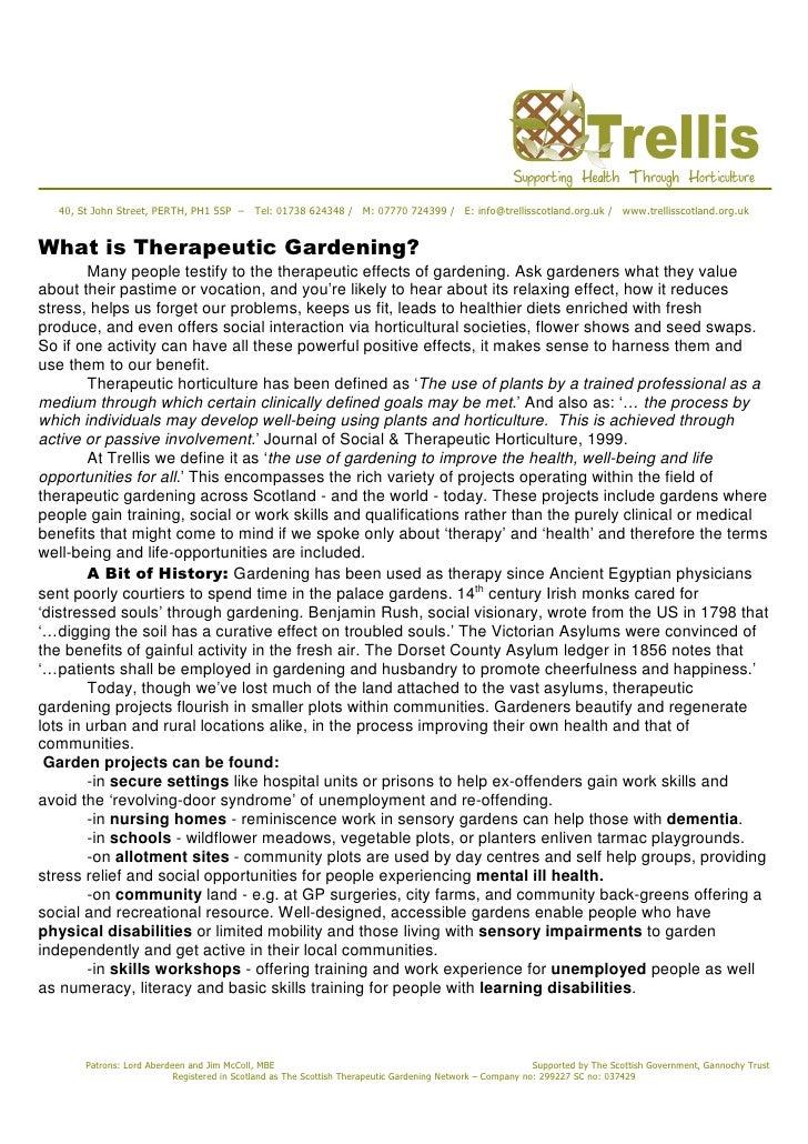 What is Therapeutic Gardening - Trellis