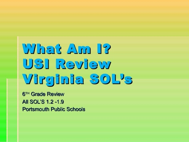 What Am I?What Am I? USI ReviewUSI Review Virginia SOL'sVirginia SOL's 66THTH Grade ReviewGrade Review All SOL'S 1.2 -1.9A...