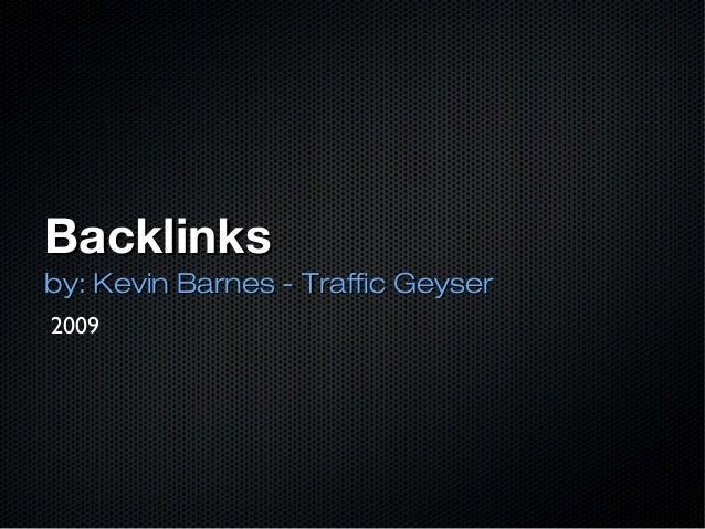 What Are Backlinks - 2009