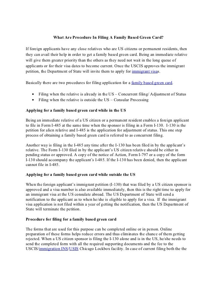 What are procedure in filing a family based green card