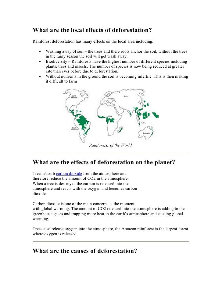 What Are The Local Effects Of Deforestation