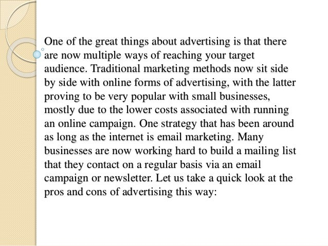 What are the pros and cons of advertising?