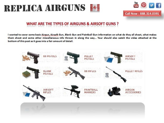 What are the types of airguns airsoft guns and blank guns
