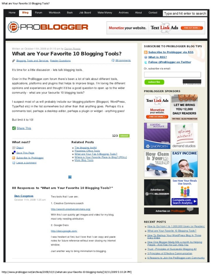 What Are Your Favorite 10 Blogging Tools