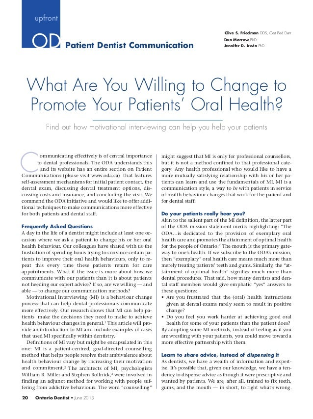 What Are You Willing to Change to Promote Your Patients' Oral Health?